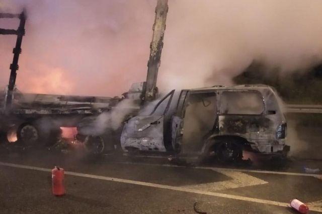 В Киевской области внедожник влетел фуру: водитель легковушки сгорел заживо