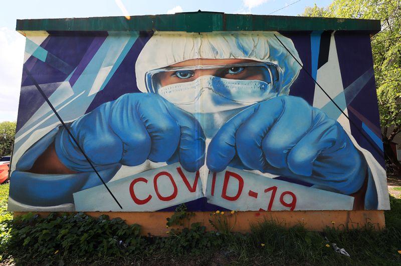 Граффити в поддержку врачей в борьбе с COVID-19 художников Михаила и Сергея Ерофеевых на одном из домов в Красногорске.