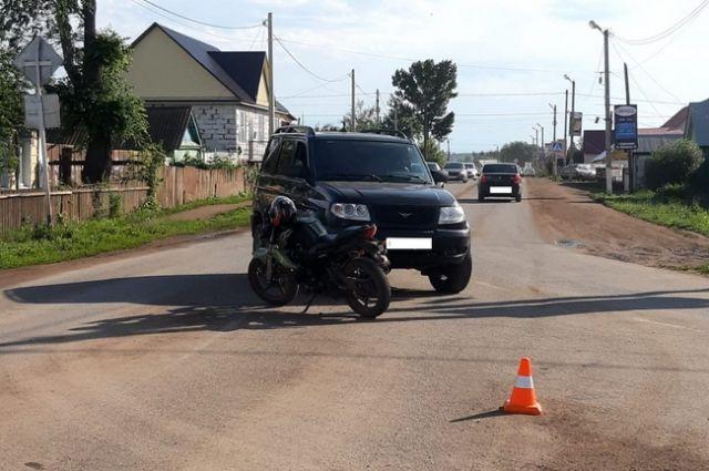 В  Сорочинске несовершеннолетний водитель мотоцикла допустил  ДТП.