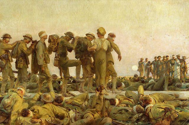 На картине «Отравленные газами» (Джон Сингер Сарджент, 1919) изображены слепые потери на поле битвы после атаки горчичным газом во время Первой мировой войны (Фрагмент).