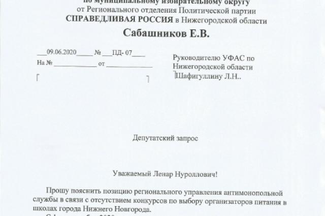 Депутатский запрос Евгения Сабашникова руководителю Нижегородского УФАС.