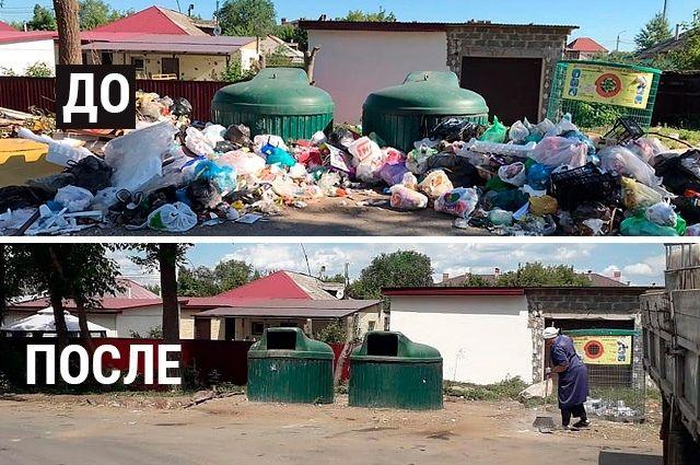 На мусорной площадке возле дома по улице Илекской, 80 были заменены мешки в мусорных контейнерах и проведена уборка.