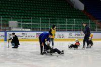 На занятиях по следж-хоккею