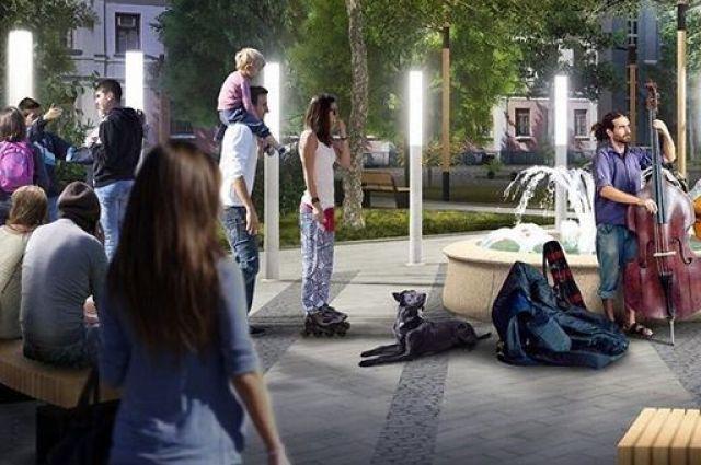 На территории сквера рядом с фонтаном планируется организовать зоны для проведения концертов
