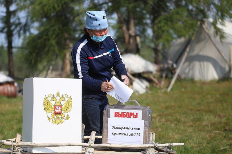 Голосование в отдаленном поселении в Якутии.