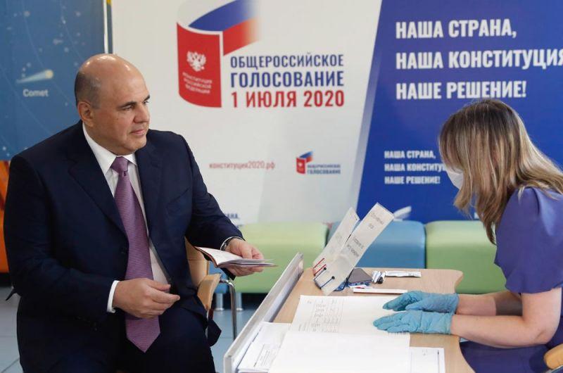 Премьер-министр России Мишустин на избирательном участке.