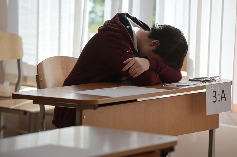 Школьник перед началом единого государственного экзамена в школе № 208 в Екатеринбурге.
