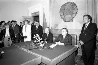 Вдекабре 1991в Алма-Ату софициальным визитом прибыл государственный секретарь Джеймс Бейкер.