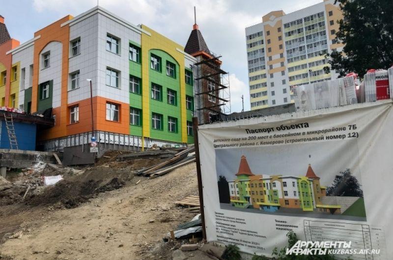 Детский сад на 200 детей с бассейном в «Кемерово-Сити» начали строить год назад и обещают закончить в третьем квартале 2020 года.