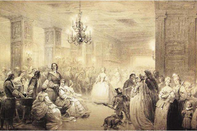 Ассамблея при Петре I. 1861. Неизвестный литограф по рисунку А.И.Шарлеман.