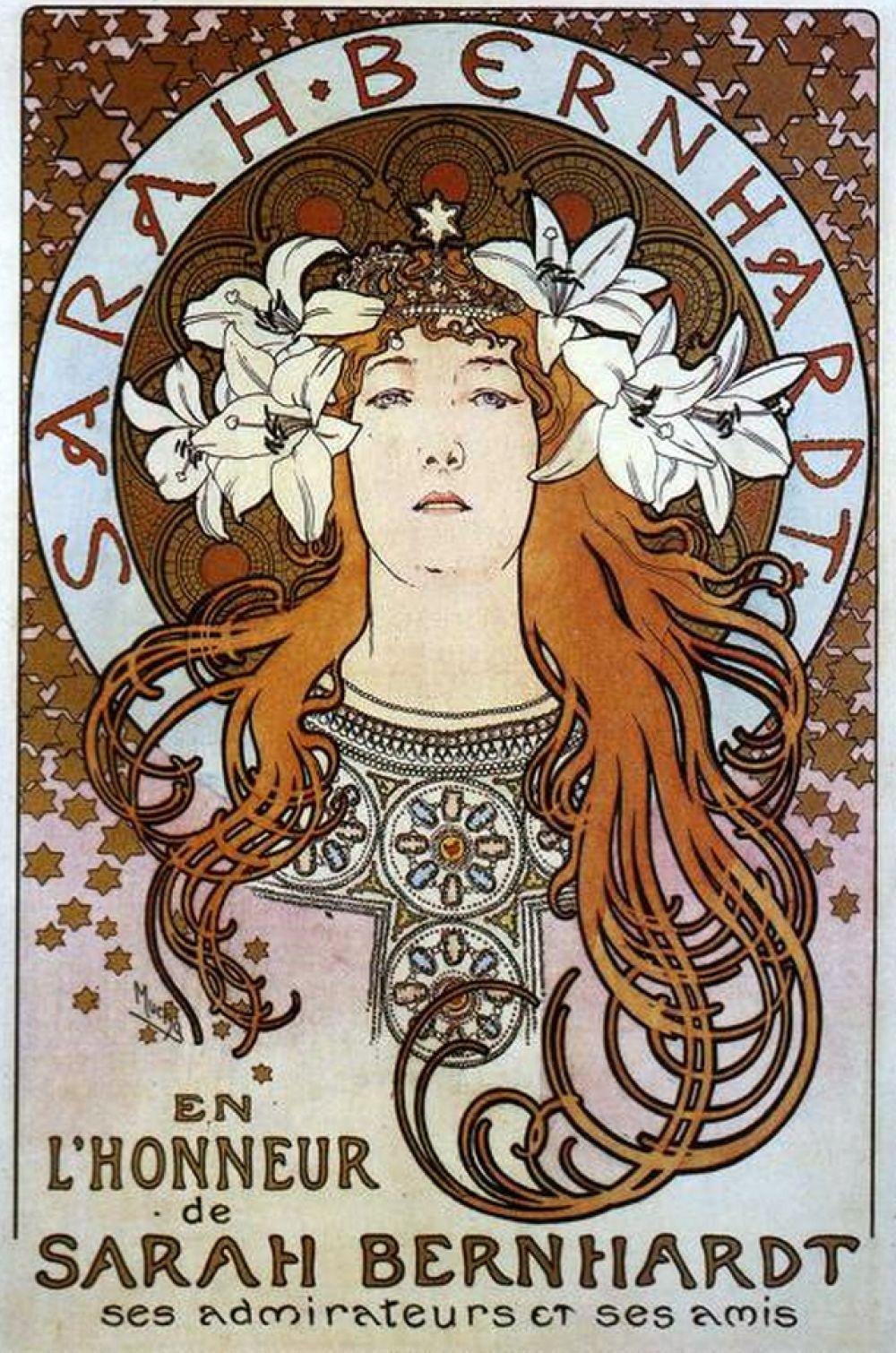 Сара Бернар на плакате Альфонса Мухи, 1896 год.