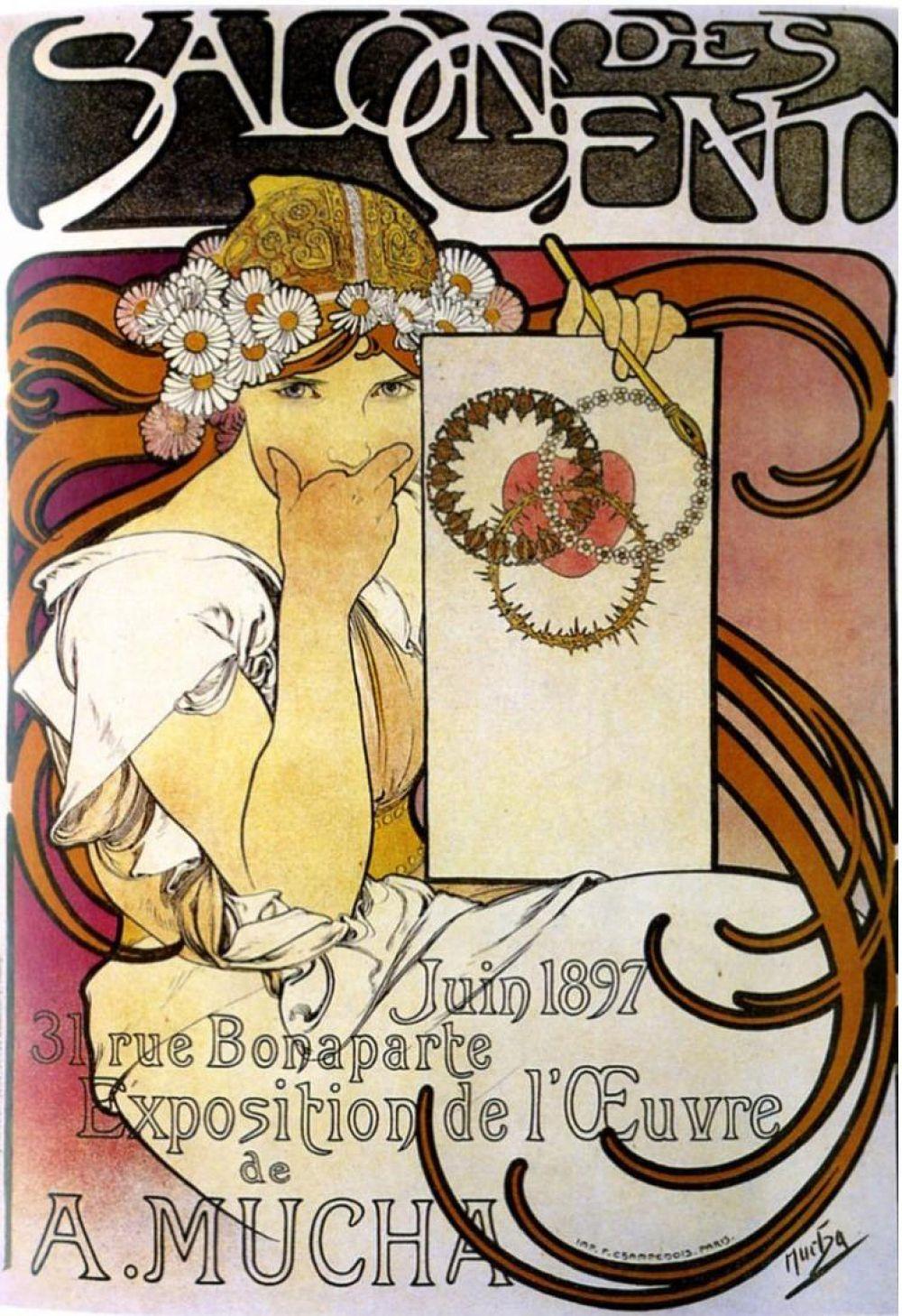 Плакат первой собственной выставки Мухи в «Салоне ста», 1897 год.