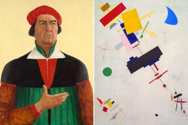 Слева - «Автопортрет» (1933), справа - знаменитый «Супрематизм № 56» (1916).
