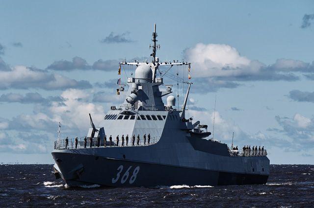 Патрульный корабль проекта 22160 «Василий Быков» нарепетиции парада вчесть Дня Военно-морского флотаРФ вКронштадте.