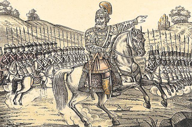 Ермак Тимофеевич – «покоритель Сибири», цветная литография, Россия, 1883 г.