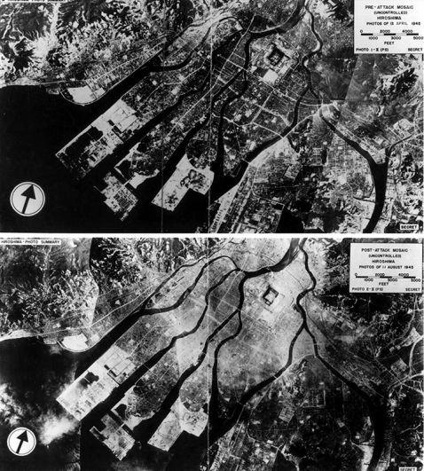 Хиросима до взрыва и после (вид с воздуха).