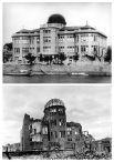 Хиросима до взрыва и после (нижний снимок сделан ориентировочно в октябре 1945 года).