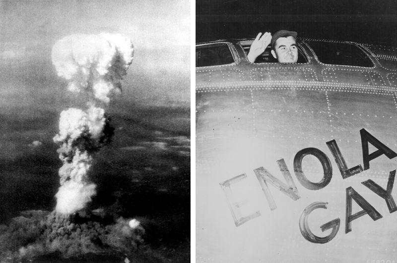 Ядерный гриб над Хиросимой и пилот бомбардировщика «Enola Gay» Пол Тиббетс, сбросивший первую атомную бомбу на город, 6 августа 1945 года.