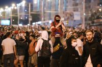 Участники акции протеста в Минске после президентских выборов.