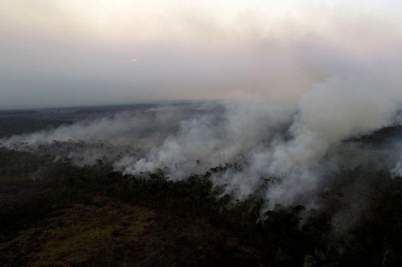 Горящий участок джунглей неподалеку от Апуи.