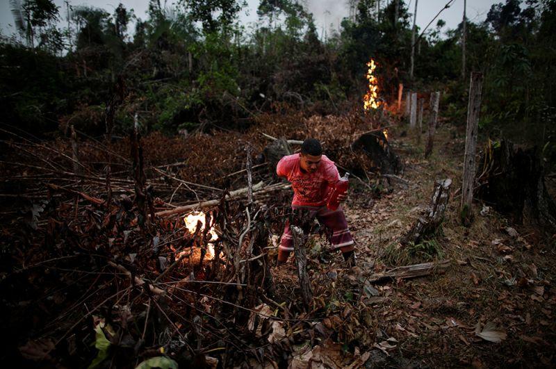 Фермер пытается создать преграду для огня.