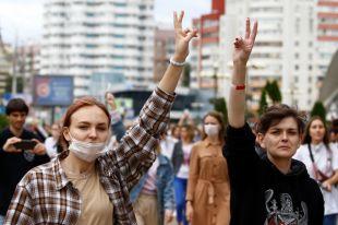Участницы протестов в Минске.