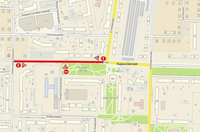 В Тюмени продлевается перекрытие улицы Харьковской