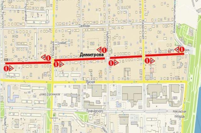 Проезд транспорта по улице Димитрова ограничен до 15 сентября