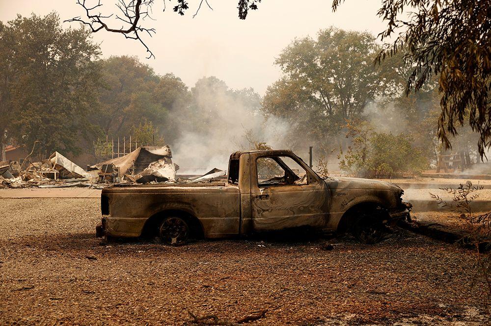 Сгоревший автомобиль в Вакавиле.
