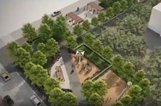 Визуализация проекта сквера в Локомотивном.