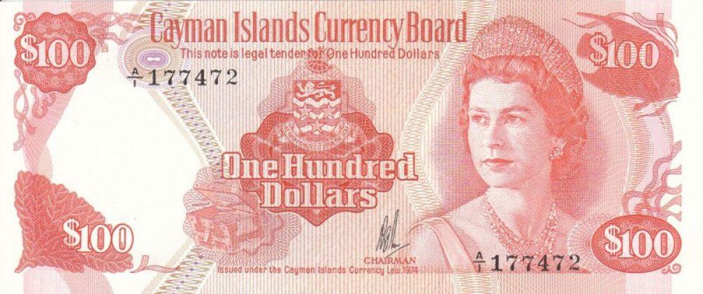 34 года — 100 долларов Каймановых островов, выпуск 1974 года.