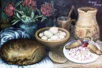 Репродукция картины «Завтрак» работы художницы Катерины Белокур.