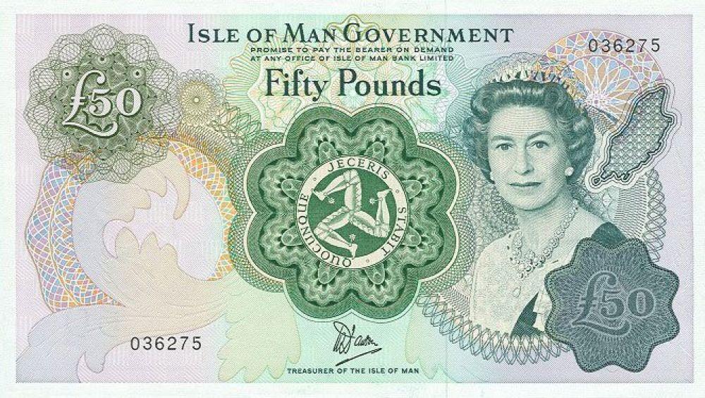 51 год — 50 фунтов острова Мэн, выпуск 1983 года.