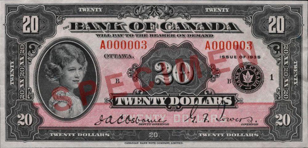 8 лет — 20 канадских долларов, выпуск 1935 года.