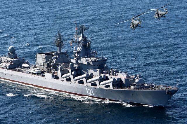 Флагман Черноморского флота вышел на первые учения после ремонта
