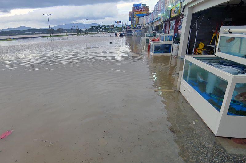 Затопленные улицы после тайфуна в городе Каннын.