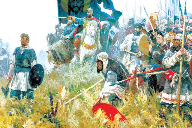 «Утро на Куликовом поле». Александр Бубнов, 1947 г. Главный герой картины – русский народ, ополченцы – от мала до велика.