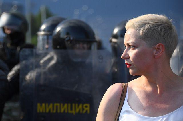 Член президиума оппозиционного координационного совета Мария Колесникова вовремя акции протеста оппозиции вМинске.