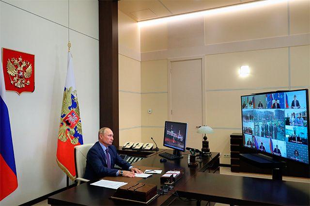 8 сентября 2020 г. Президент РФ Владимир Путин проводит совещание по вопросам ликвидации последствий наводнения в Иркутской области в 2019 году в режиме видеоконференции.
