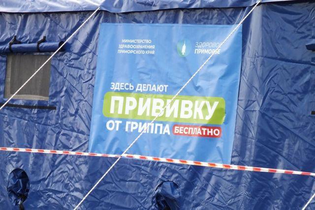 Синюю палатку и баннер «Прививки. Бесплатно» видно издалека.