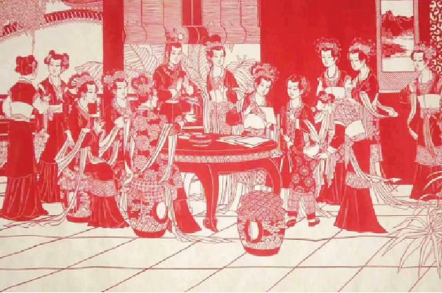 Работа ЛиБаофэн, изображающая сцену издревнекитайского классического романа «Сон вкрасном тереме».