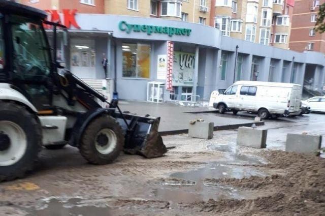 Последствия провала асфальта в Горроще ликвидируют до конца дня