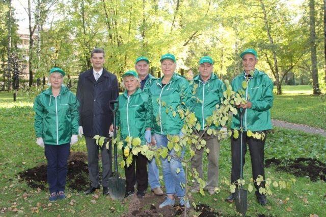 20 саженцев яблонь и берёз высадили в парке им. В.Л. Миндовского.