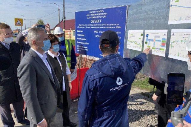 Александр Моор проинспектировал строительство водовода в Тюменском районе