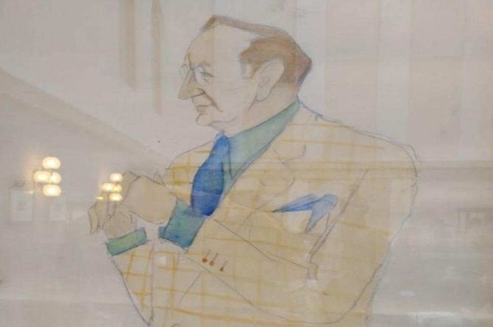 Шарж на Качалова Б. Н. Ливанова из фонда музея МХАТ.