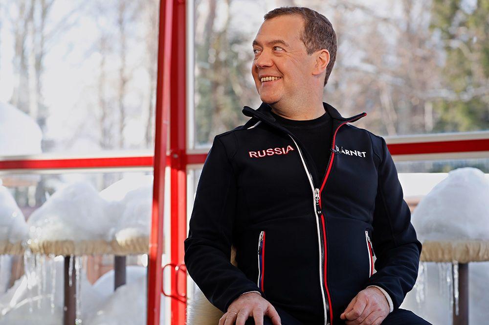 Заместитель председателя Совета безопасности РФ Дмитрий Медведев во время интервью «Первому каналу». 2020 год.