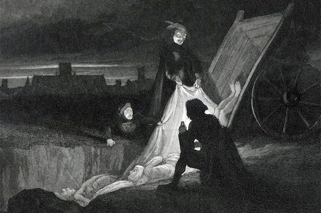 Разгрузка тележки с умершими от чумы. Лондон, 1665 г.