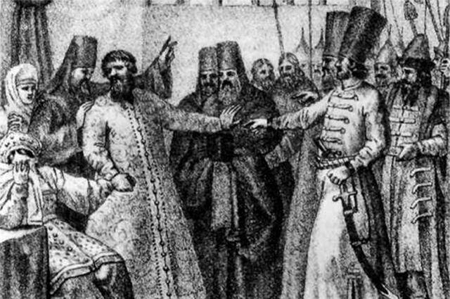Насильственное пострижение Василия Шуйского (1610 г.). Гравюра П. Иванова. XIX век.