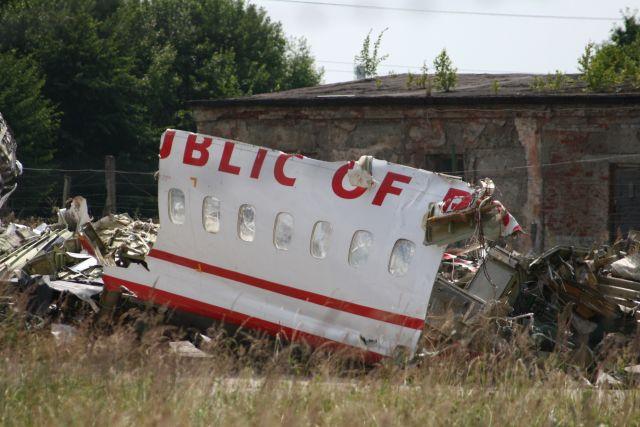 Обломки самолета Леха Качиньского.