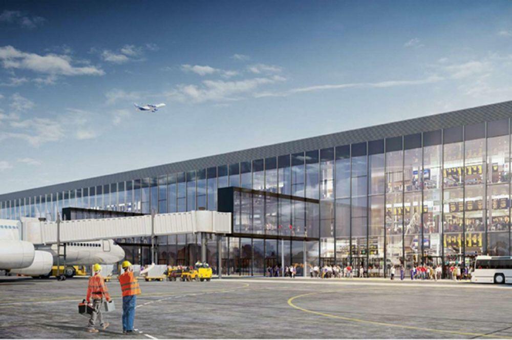 Высота нового терминала – более 30 метров, а фасад здания будет представлен единой стеклянной лентой.
